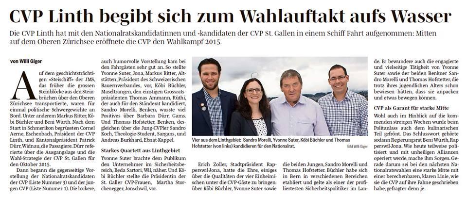 CVP Linth begibt sich zum Wahlauftakt aufs Wasser (Dienstag, 18.08.2015)